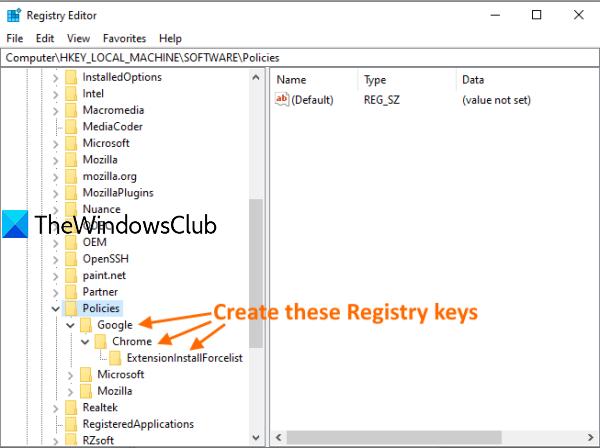 create Google key, Chrome key, and ExtensionInstallForcelist key