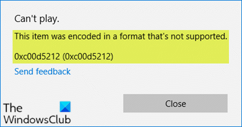 This item was encoded in a format not supported (0xc00d5212)